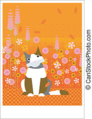 Cat with flowers - A gray and white cat is sitting in the...