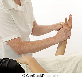 Kinesiologist treating hand opponens pollicis -...