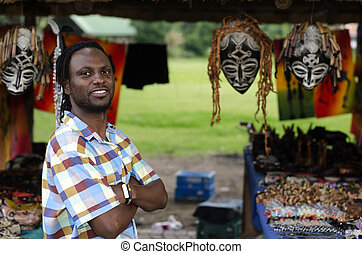 African curio salesman - African small business curio...