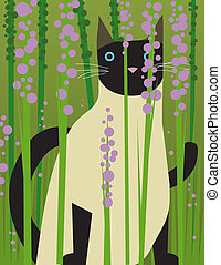 Siamese cat looks through plants - Siamese cat is looking...