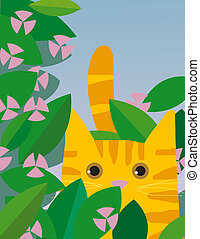 Yellow cat and flowers - Yellow cat is looking through the...