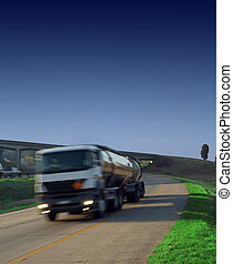 Tanker truck on highway - Petrol, diesel or gas tanker truck...