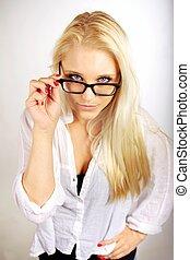 Pretty Career Woman Adjusting Her Eyeglasses