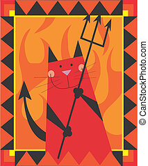 Cat Devil - Devil cat is smiling by holding the trident