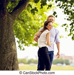 Cheerful Couple in Love at the Park