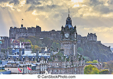 Edinburgh Castle and Balmoral Clock Tower at Dusk, Scotland