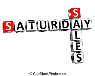 3D Saturday Sales Crossword on white background