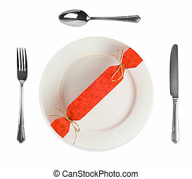 Cracker or bow on white plate setting