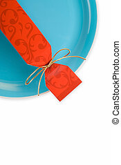 Party cracker on plate - Christmas or party cracker on green...