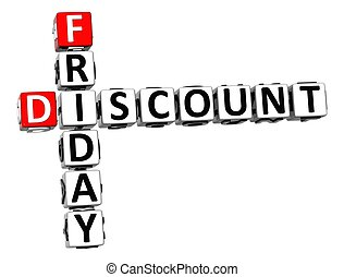 3D Friday Discount Crossword on white background