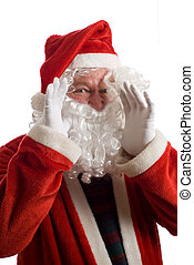 Father Christmas shouting something with hands at side of...