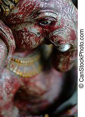 Ganesh closeup - Ganesh or Ganesha Hindu elephant god idol...