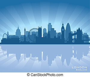 London, England skyline with reflection in water