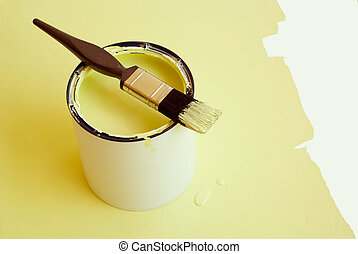 Home improvement painting - Home improvement paint brush on...