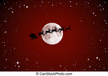 Santa Claus On the night sky - Santa Claus On Sledge With...