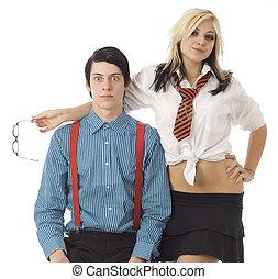 Nerd boy surprised by pretty girl - Nerd school boy...