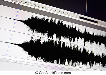 Waveform. - Timeline window with black sound waveform in the...