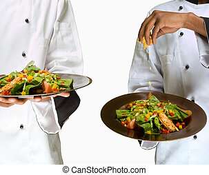 Collage combination of chef sprinkling cheese on salad -...