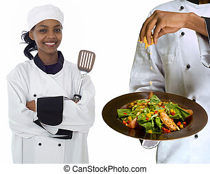 Chef sprinkling cheese on salad - Chef sprinkling cheese on...