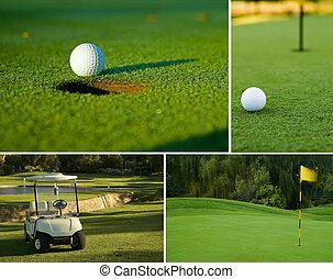 golf, golf, Pelota, verde, golf, carrito, collage,...