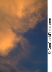 Orange and white cloud, blue sky background - Orange and...