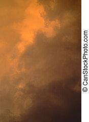Orange cloud background 3 - Natural storm orange and black...