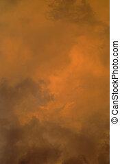 Orange cloud background 2 - Natural storm orange and black...