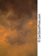 Orange cloud background - Natural storm orange and black...