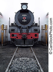 Old steam train - Old vinage steam train with steam and...