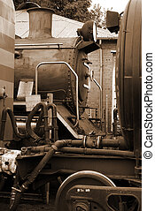 Steam locomotive in sepia - Steam train locomotive and train...
