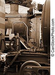 Steam locomotive in sepia - Steam train locomotive and train...