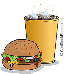 Hamburger and coke - Vector illustration of a hamburger and...