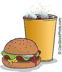 Hamburger and coke - Vector illustration of a hamburger and...