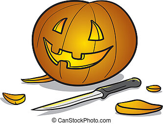 Halloween pumpkin and knife - Vector illustration of a...