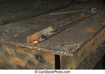 Red hot welding metalwork - Red hot industrial welding...