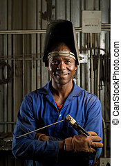 African welder with mask - South African or American black...