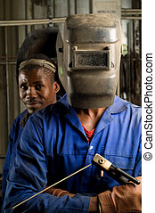 African welder with mask - african, american, black, build,...