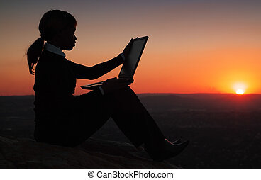Silhouette of Business Woman - Silhouette of African...