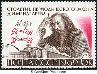 USSR - 1969: shows DI Mendeleev 1834-1907 and Formula with A...