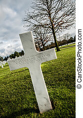 Cross for an unknown Soldier - American military cemetery of...