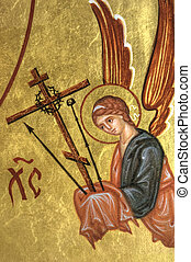Angel - A fragment of ancient icon with the Orthodox motives