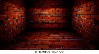 red room with brick wall