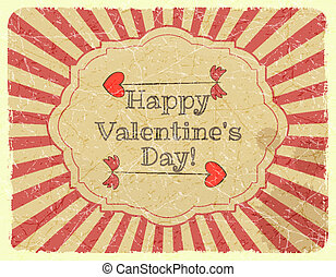 Grunge Design Valentines Day Card with Cupid Arrow - vector...