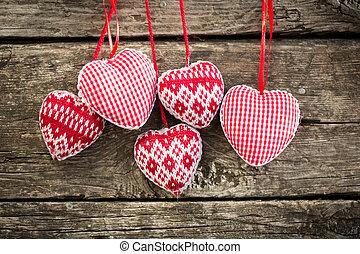 bois, cœurs, fond