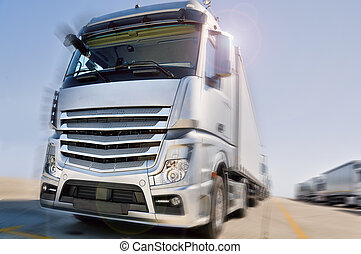 Modern Truck on road motion blur dramatic - Modern European...