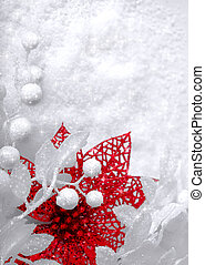 Christmas white seasonal background with snow, beads and red...