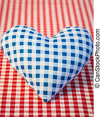 Blue heart on gingham tablecloth - Big blue heart on gingham...