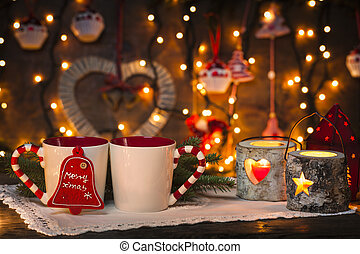 cozy christmas - Christmas decorated set up of candles and...
