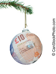 Money bauble - Christmas bauble made of dollar banknotes...