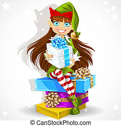 Cute girl the New Year's elf Santa's assistant give a...